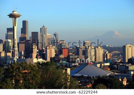 Seattle skyline at sunset.