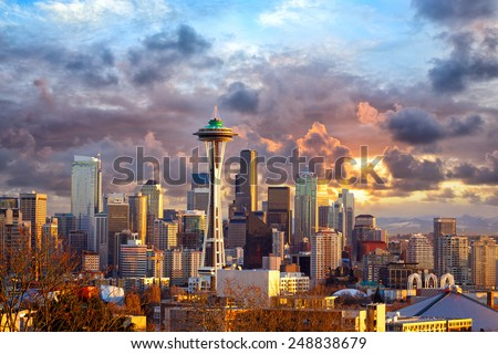 Seattle skyline at sunset, WA, USA #248838679