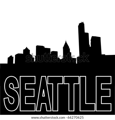 Seattle skyline black silhouette on white illustration JPEG