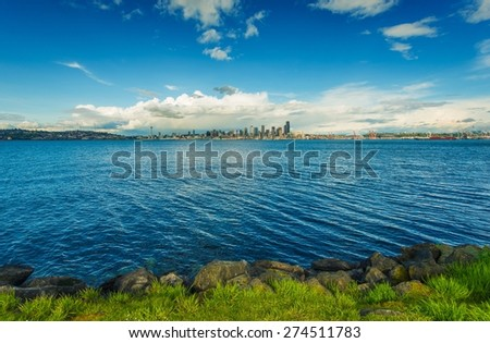Seattle Skyline Panorama and Puget Sound. Seattle, Washington, United States.