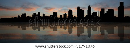 Seattle skyline panorama reflected at sunset illustration