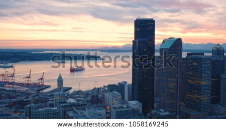 Seattle Skyline Puget Sound Port Shipping Commerce Concept Terminal Large Freighter Boat