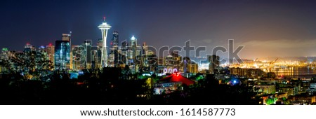 Seattle skyline shine in twilight sky