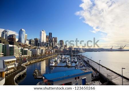 Seattle skyline, waterfront and Great Wheel across  Bell Harbor Marina, WA, USA