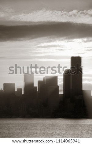Seattle sunrise with downtown building silhouette #1114065941