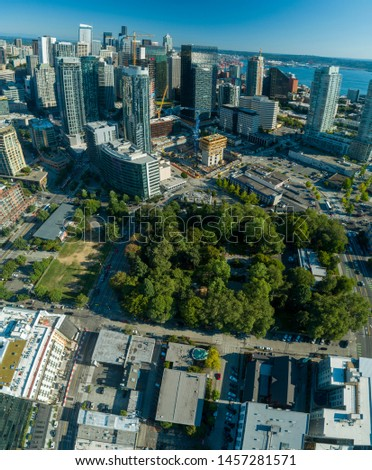Seattle Washington Denny Park and Downtown District Aerial Perspective Zdjęcia stock ©