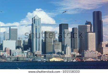 Seattle Washington skyline from Puget sound