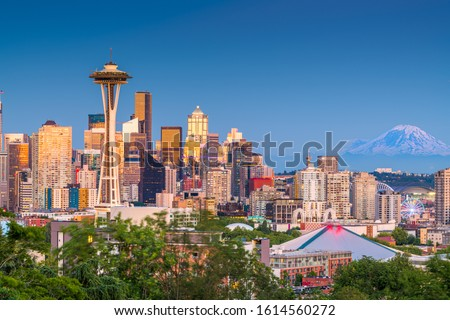 Seattle, Washington, USA downtown city skyline at dusk.