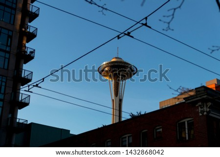 Seattle, Washington / USA - March 2019: Unique view of the Space Needle in downtown Seattle, Washington at sunset. #1432868042
