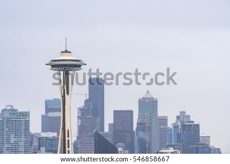 Seattle,Washington,usa.12/09/16 seattle city scape with snow covered on the day. #546858667