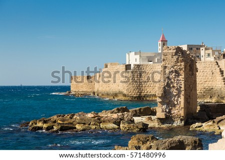 Seaview of the city and it's wall of Akko (Acre), Israel