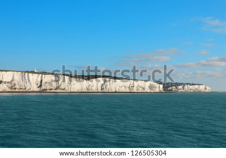 Seaview of the famous white cliffs near Dover in UK from a ferry leaving Great Britain toward France.