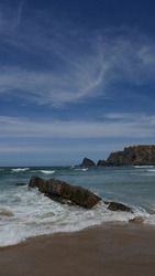 Seaview of the Odeceixe Beach, located in the Vicentine Coast Natural Park in Portugal.