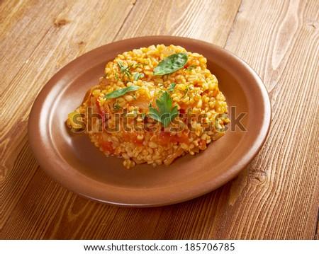 Sebzeli Bulgur PilavÃ?Â?Ã?± - Turkish food  made with bulghur Stok fotoğraf ©