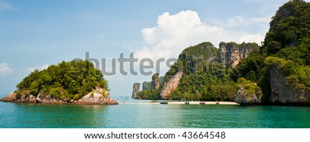 Secluded Beach on a Small Tropical Island in the Andaman Sea, Thailand. - stock photo