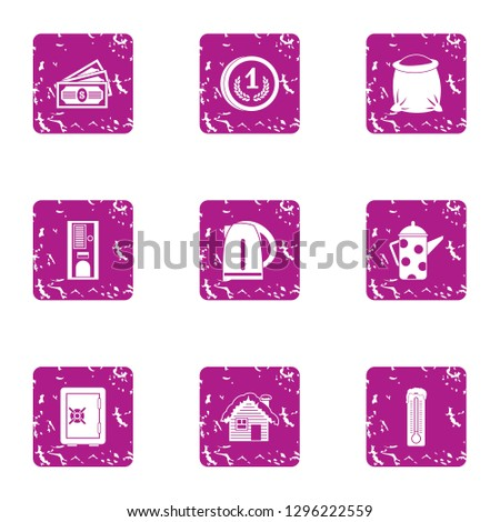 Seclusion icons set. Grunge set of 9 seclusion icons for web isolated on white background