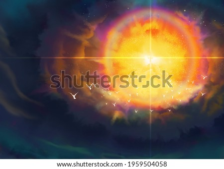 Second coming of Jesus, a depiction of the glorious advent, Revelation New Testament, Adventism religious illustration imagery