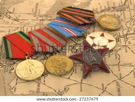 Second World War medals on a map