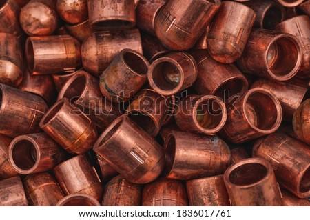 Secondary Raw Material copper Scrap, selective focus. Background. Сток-фото ©