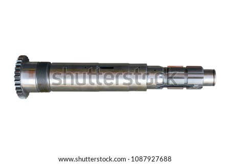 secondary shaft of a gearbox of a truck on an isolated white background #1087927688