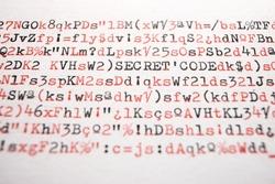 Secret code words written with a typewriter.