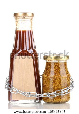 Secret ingredients with chain isolated on white