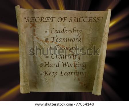 Secret of success on old paper scroll