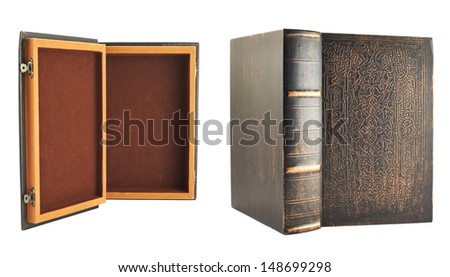 Secret old book shaped casket isolated over white background, set of two foreshortenings, back and front views