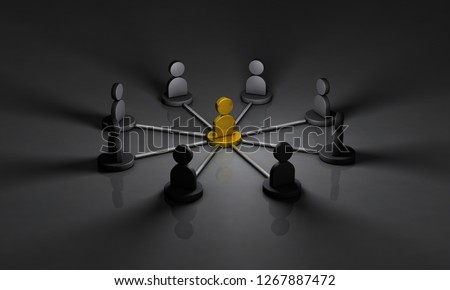 Secret society of the back society. Dealing with that mastermind. 3D illustration