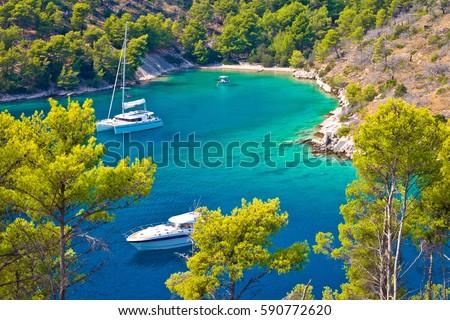 Secret turquoise beach yachting and sailing, Island of Brac, Dalmatia, Croatia #590772620