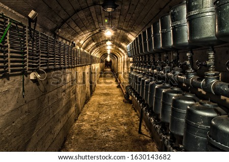 Secret underground cold war bunker.  old and Abandoned nuclear bunker and tunnel. Military Stock fotó ©