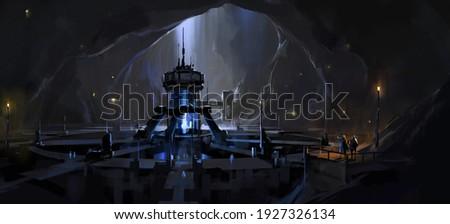 Secret underground nuclear reactor facility, digital science fiction illustration,3D illustration.