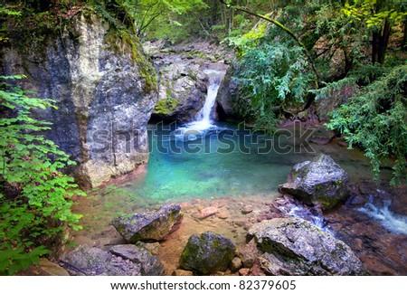 Secret waterfall in a jungle
