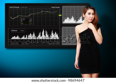 Secretary and stock exchange graph report background