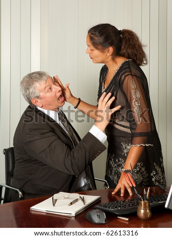 Secretary defending herself with her scissors against intimacy by her boss
