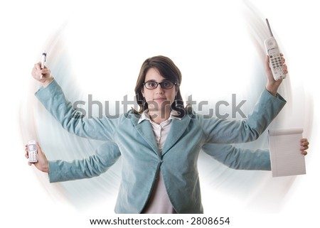Secretary or business woman with four arms doing multiple tasks at the same time (motion blur) - stock photo