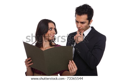 Secretary showing the boss the results and waiting for his opinion