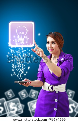 Secretary touch Light bulb icon from mobile phone