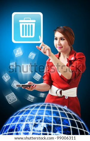 Secretary touch the Bin icon from mobile phone : Elements of this image furnished by NASA