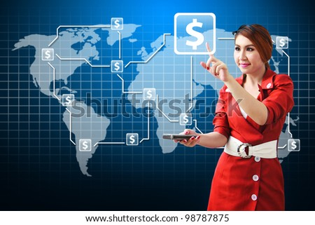 Secretary touch the money icon on world map