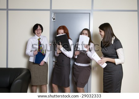 secretary waiting for report to boss have a fun. Office people