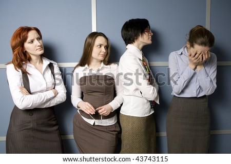 secretary waiting for report to boss. woman crying.  Office people