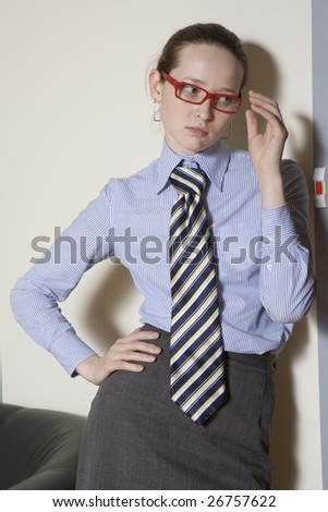 Secretary wearing glasses waiting for boss`s instructions. Office people