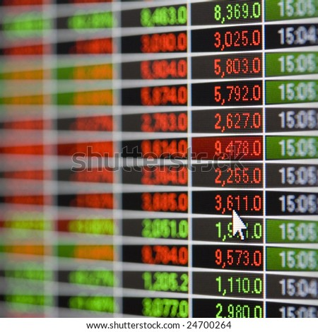 Section of a live stock market quote screen showing prices on an LCD computer display. Shallow depth of field. Mouse cursor visible in bottom right third of the image. - stock photo