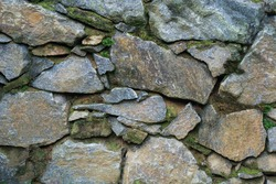 section of a stone wall surface built with rock and sand, without cement, covered with green moss, closeup of natural background texture