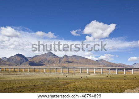 Section of beijing-tibet railroad against mountain and sky background, tibet