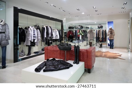 Section of female outer clothing in shop