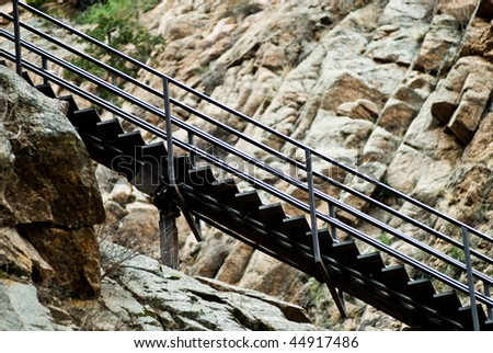 Section Of Stairs Leading Up The Mountain At The Seven Falls Waterfall In Colorado  Springs