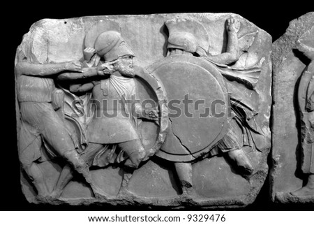 Section of the Elgin Marbles depicting battling ancient greek warriors