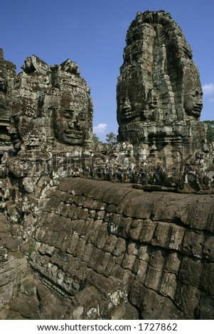 Section of the vast Temples of Angkor in Cambodia.